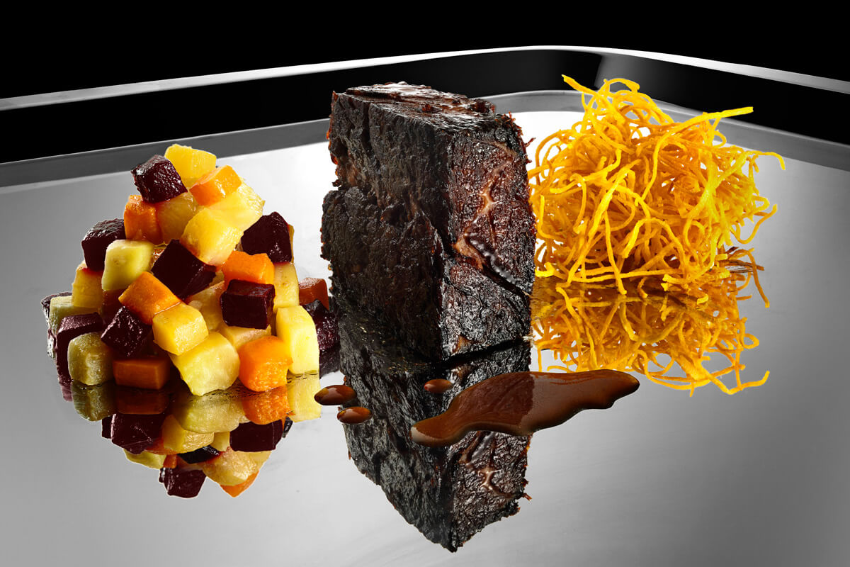 Cabernet Braised Short Ribs with Root Vegetables and Sweet Potatoes