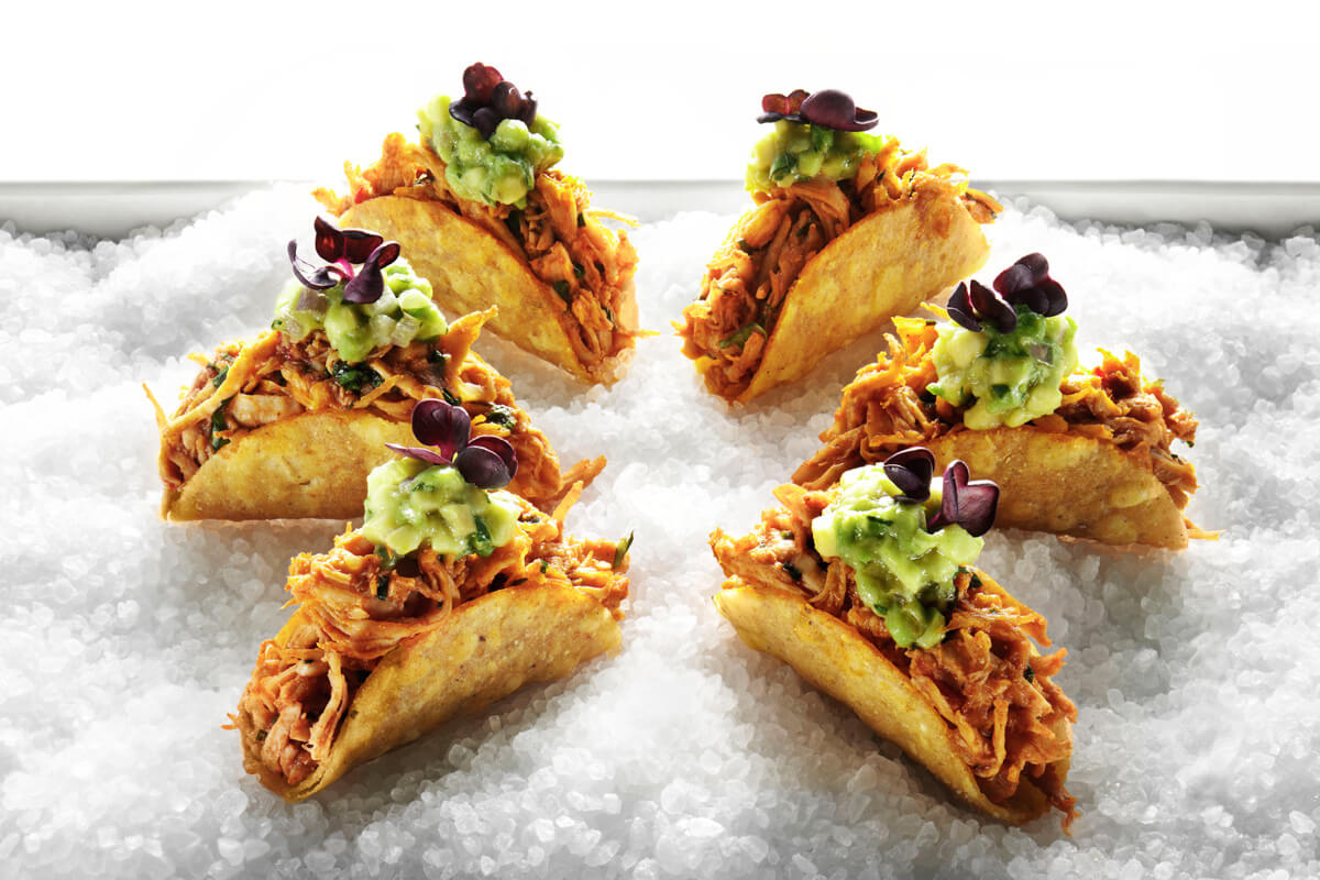 Chicken Ropa Viejas Tacos with Avocado and Chipotle Cream