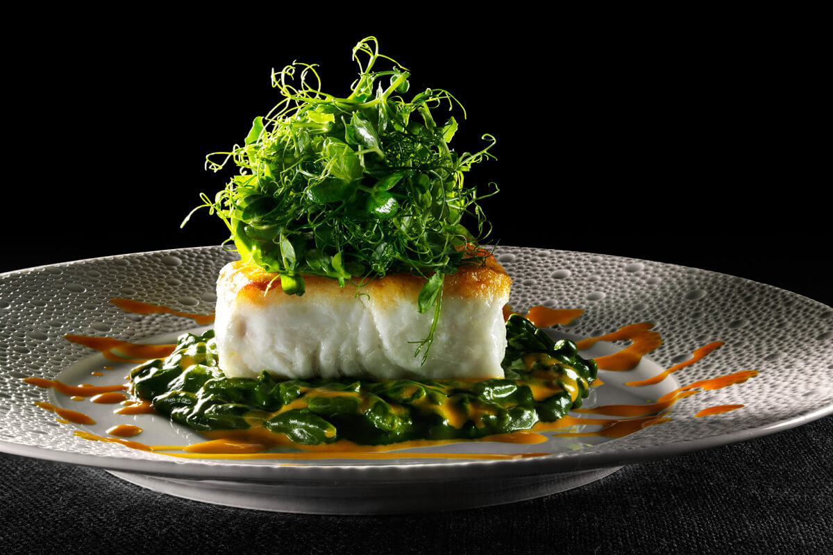Halibut with Leeks and Spinach Orzo Risotto