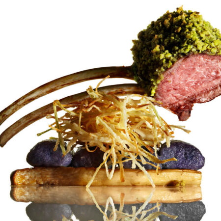 Pistachio Crusted Lamb with Purple Gnocchi and King Oyster Mushroom