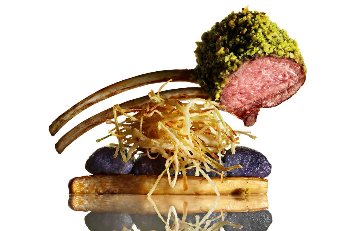 Seared Lamb with Purple Gnocchi, King Mushroom and Tarragon Cream